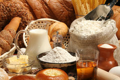 Bread, milk, oil, macaroni Royalty Free Stock Images