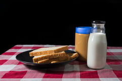 Bread with milk and peanut butter. Stock Photography