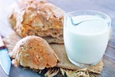 Bread with milk Stock Image