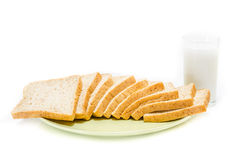 Bread with of milk on white Studio Stock Images