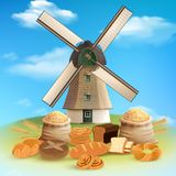 Bread And Mill Background Stock Photography