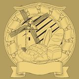Bread mill grain coat of arms.  image vector illustration