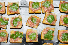 Bread with minced pork Stock Photo
