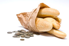 Bread and money Royalty Free Stock Image