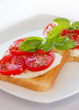 Bread with mozzarella tomatoes and basil Stock Photo