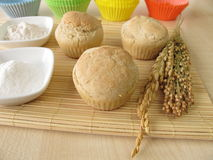 Bread muffins with spelt flour, millet flour, rice flour Stock Photo