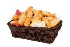 Bread muffins in a wooden brown cart Royalty Free Stock Image
