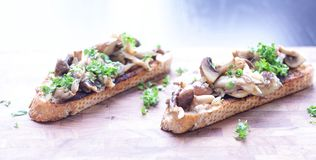 Bread with mushrooms stock images