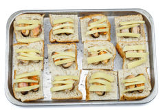Bread with mussel and cheese on tray before bake Stock Image