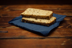 Bread and napkin on table Royalty Free Stock Image