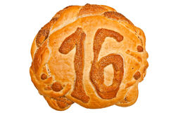 Bread with number 16 Stock Photography