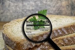 Bread and nutrition facts. Close up of Bread and nutrition facts stock images