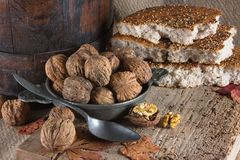 Bread and nuts Stock Photo