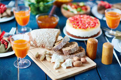 Bread and nuts Stock Images