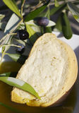 Bread, oil and olives royalty free stock images