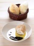 Bread in olive oil balsamic vinegar dip Royalty Free Stock Photography