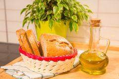 Bread and Olive oil Stock Photography