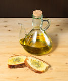 Bread with olive oil and salt Stock Images