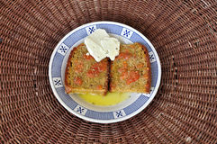 Bread with olive oil and tomato Royalty Free Stock Photos