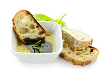 Bread olive oil and vinegar royalty free stock image