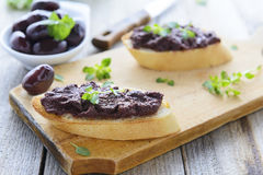 Bread with olive pate. Greece cuisine Stock Photography