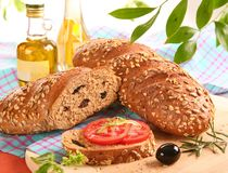 Bread and olive at the village Royalty Free Stock Photography