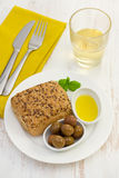 Bread with olives Stock Image