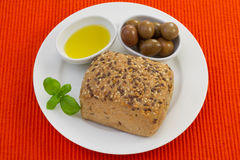 Bread with olives Royalty Free Stock Photos