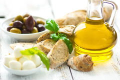 Bread with olives and olive oil Royalty Free Stock Photo
