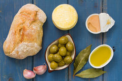 Bread with olives, pate Royalty Free Stock Photo