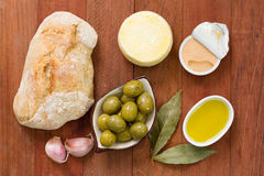 Bread with olives, pate Stock Images