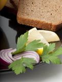 Bread and onion Royalty Free Stock Photography