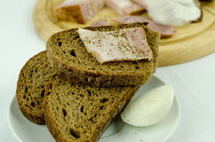 Bread with onion and ham Royalty Free Stock Image