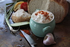 Bread with onion some cottage cheese Royalty Free Stock Image
