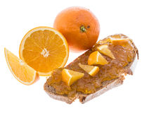 Bread with Orange Jam Stock Photos