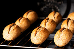 Bread in oven horizontal Royalty Free Stock Photography