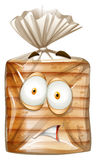 Bread package with scared face Stock Images