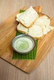 Bread with pandan custard Stock Photo