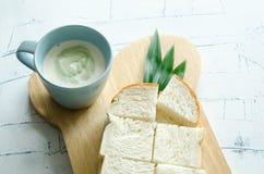 Bread And Pandanus Leaf Steamed Custard. Royalty Free Stock Image
