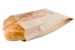 Bread in paper bag isolated on white Stock Photo