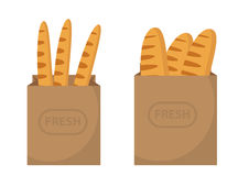 Bread in a paper bag. Loaf, Baguette in the papers package. Vector illustration, clip art. Royalty Free Stock Photography