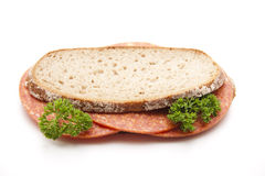 Bread with paprika salami Stock Image