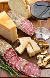 Bread parmesan cheese and salami Stock Images