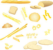 Bread and pasta. Different types of pasta and bread vector illustrations collection isolated on a white background Royalty Free Stock Photos