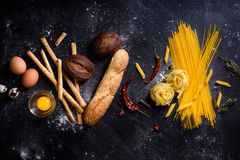 Bread and pasta, bakery or grocery background. Italian cuisine i stock photo