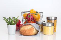 Bread, pasta, millet, vegetables and rosemary Stock Photos