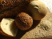 Bread and pastry. Various bread, pastry and sesame stock photos