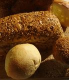 Bread and pastry. Various bread, pastry and sesame royalty free stock photos