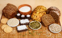 Bread, pastry, candies and ingredients Royalty Free Stock Photography
