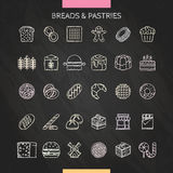 Bread and pastry chalk. Bread and dessert chalk icons set. Vector Illustration stock illustration